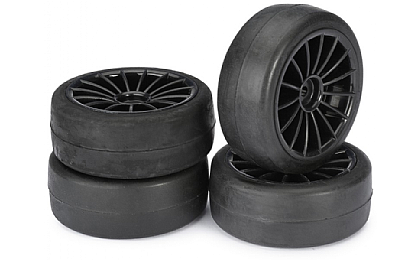 2510001 Absima 15 Spoke Wheel & Tyre Set Black