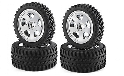900028 Carson 2WD All Terrain Tyre Set - Chrome