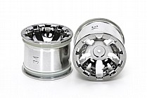 54833 Tamiya T3-01 Wheels for Rear Wide Pin Spike Tyres - Chrome Plated x2